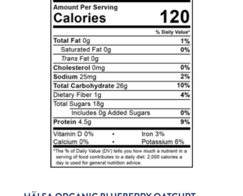 Nutrition information Halsa Blueberry
