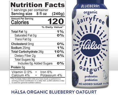 Hälsa Dairyfree Blueberry Oatgurt Nutrition facts