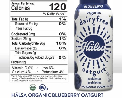Halsa Blueberry Oatgurt Nutrition Facts & Ingredients, oat milk, oat yogurt, oatgurt, organic, halsa, 100% clean