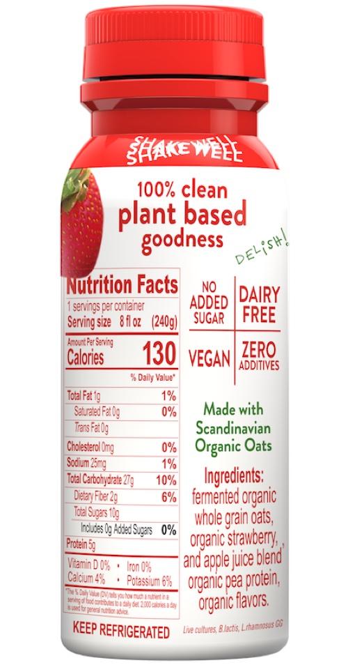 Halsa Organic Strawberry Oatgurt With Probiotics Nutrition Facts, oat milk, oat yogurt, oatgurt, organic, halsa, 100% clean