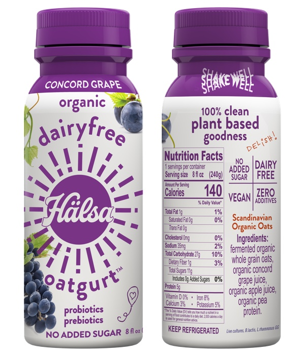 Halsa Organic Concord Grape Oatgurt With Probiotics - No Added Sugar, oat milk, oat yogurt, oatgurt, organic, halsa, 100% clean