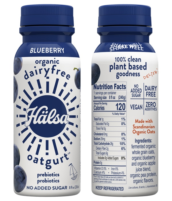Halsa Organic Blueberry Oatgurt With Probiotics - No Added Sugar, oat milk, oat yogurt, oatgurt, organic, halsa, 100% clean