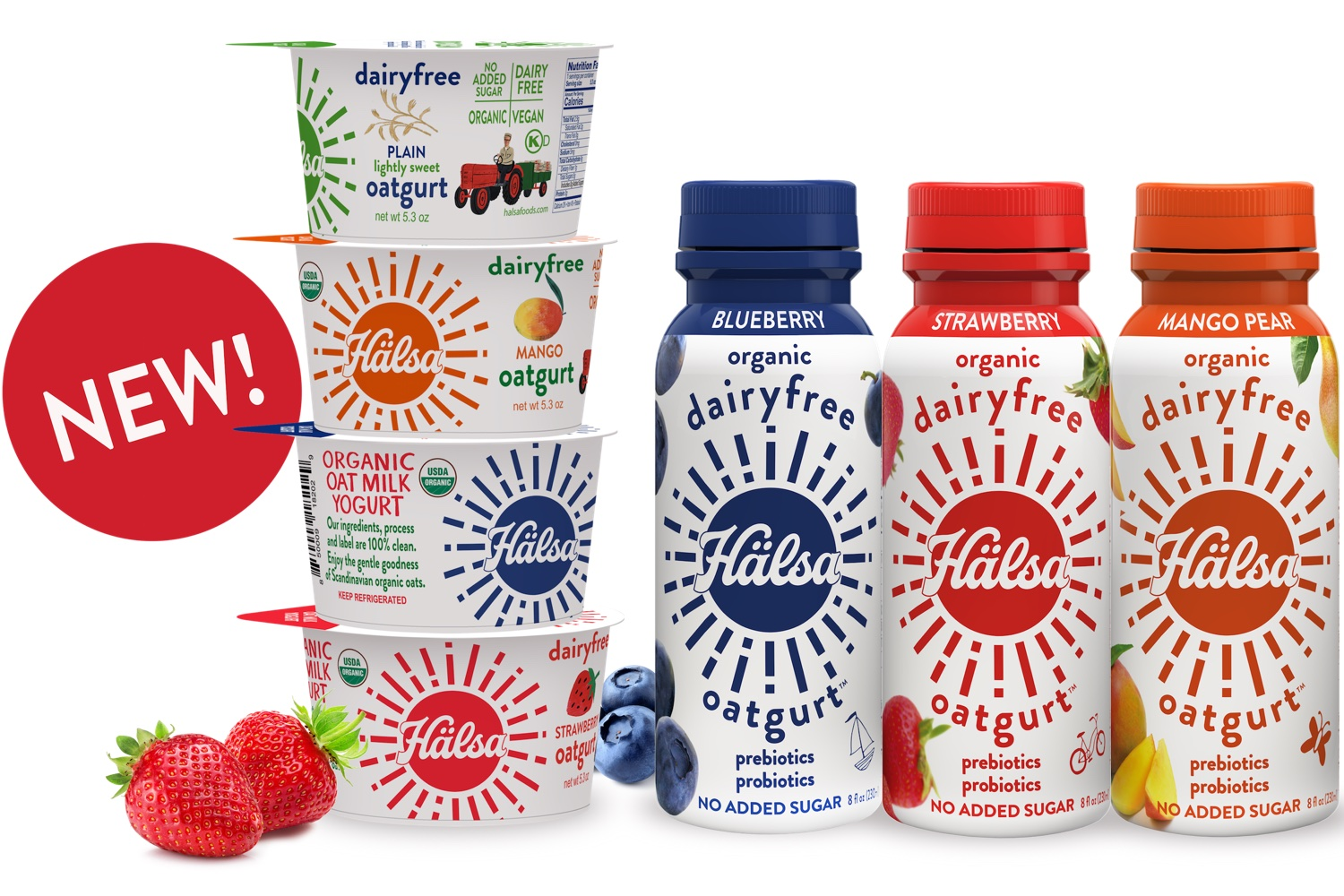 Hälsa Organic Oatmilk Yogurt Family - No Added Sugar, oat milk, oat yogurt, oatgurt, organic, halsa, 100% clean