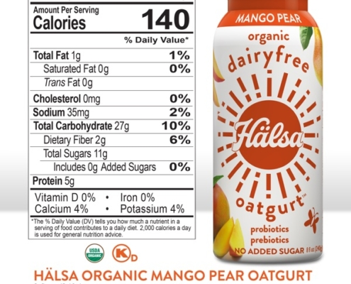 Hälsa Mango Pear Oatgurt Nutrition Facts & Ingredients, oat milk, oat yogurt, oatgurt, organic, halsa, 100% clean