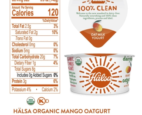 Halsa Organic Oatmilk Yogurt Mango Nutrition Fact & Ingredients - No Added Sugar, oat milk, oat yogurt, oatgurt, organic, halsa, 100% clean
