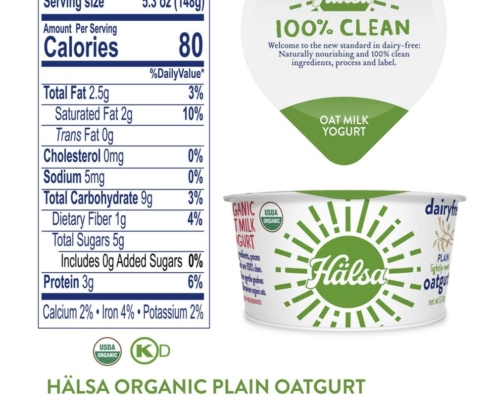 Halsa Organic Oatmilk Yogurt Plain Nutrition Fact & Ingredients - No Added Sugar, oat milk, oat yogurt, oatgurt, organic, halsa, 100% clean