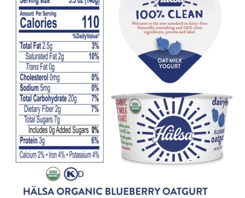 Hälsa Organic Yogurt Blueberry Flavors Nutrition Fact & Ingredients - No Added Sugar, oat milk, oat yogurt, oatgurt, organic, halsa, 100% clean