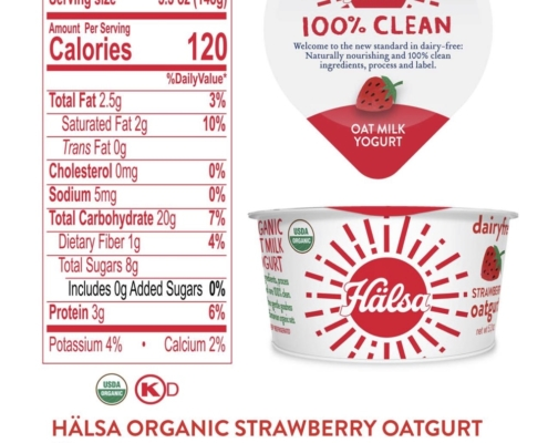 Hälsa Organic Strawberry Oatmilk Yogurt Nutrition Fact & Ingredients - No Added Sugar, oat milk, oat yogurt, oatgurt, organic, halsa, 100% clean
