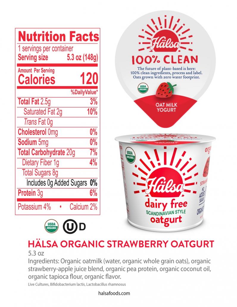 Hälsa Organic Strawberry Oatmilk Yogurt 5.3 oz