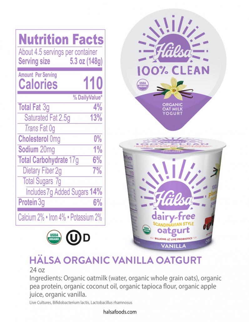 Hälsa Organic Vanilla Oatmilk Yogurt 24 oz_Nutrition Facts & Ingredients