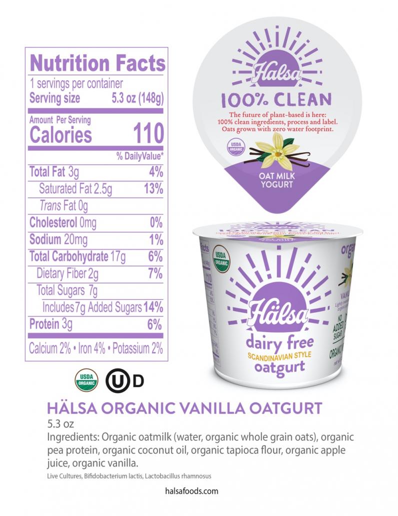 Hälsa Organic Vanilla Oatmilk Yogurt 5.3 oz_Nutrition Facts & Ingredients