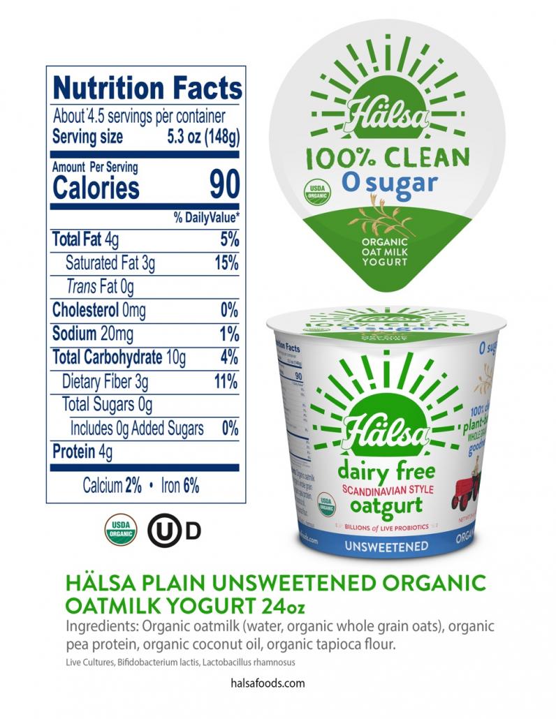 Hälsa Plain Unsweetened Zero Sugar Organic Oatmilk Yogurt 24 oz_Nutrition Facts and Ingredients