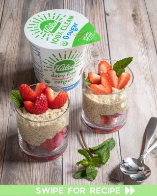 Treat yourself to a cup of our favorite chia seed pudding. 🍓🌱 Topped with fresh strawberries and mint, this is a great recipe for anyone who loves pudding but doesn't want the harmful food gums or additives in store-bought. Swipe for the full recipe! #HälsaFoods